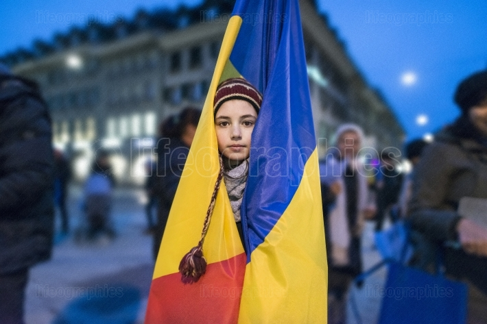 Bern, 10 february 2017. Protest in solidarity with the protest against the government in Bucharest
