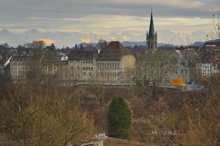Berner Oberland (Swiss Alps) with The Cathedral of Bern view from Kornhausbrücke