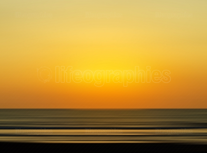 Big family silhouette meeting vivid orange sunset ocean horizon