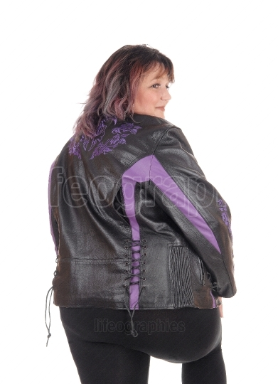 Big woman in jacket from the back