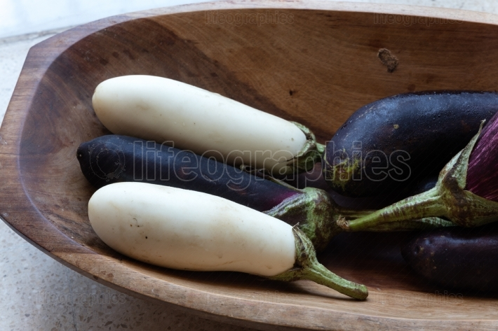 Black and white aubergines