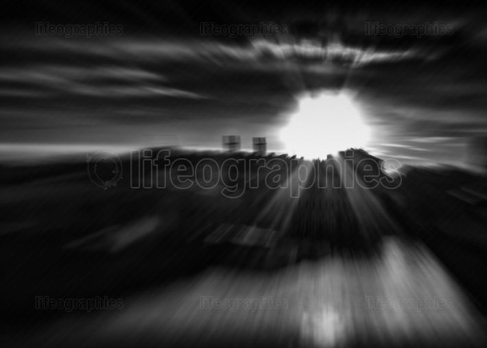 Black and white city sun abstraction