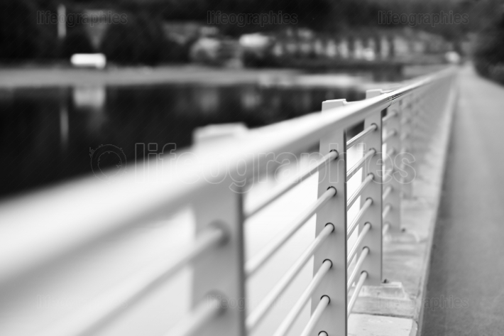 Black and white steel border fence background