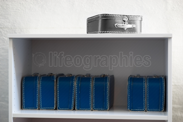 Black and white toy case with blue cases on the shelf background