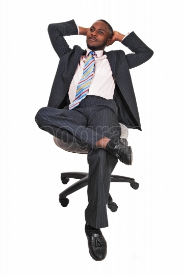 Black man in office chair