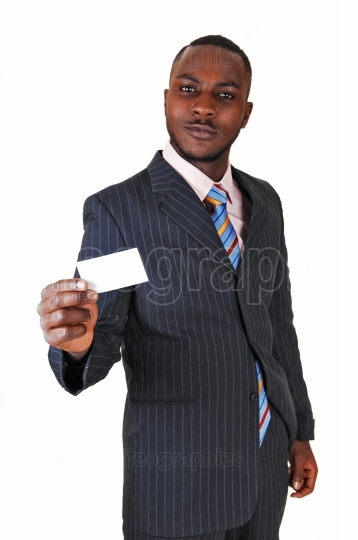 Black man with business card