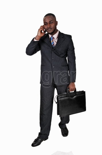 Black man with cell phone