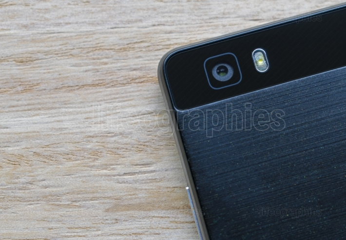 Black smart phone camera and flash isolated