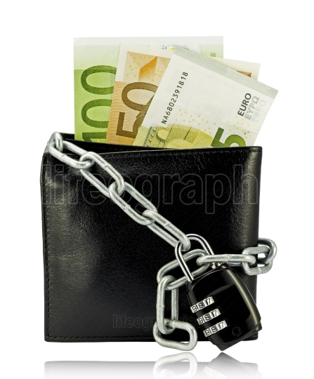 Black wallet with money tied with chain and padlock on white bac