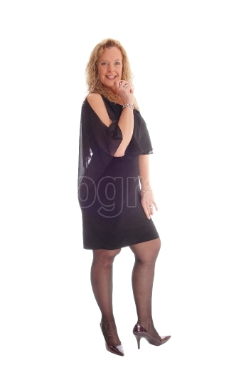 Blond woman in black dress.