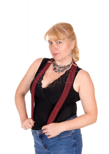 Blond woman with suspender.