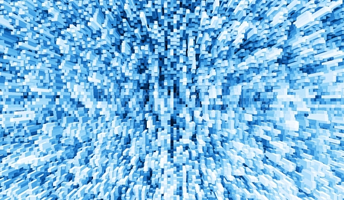 Blue 3d extruded cubes explosion illustration background