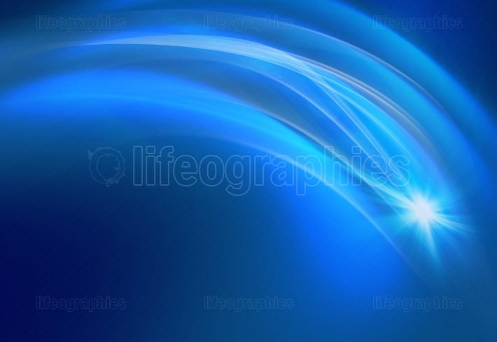 Blue background with transparent curves and flare