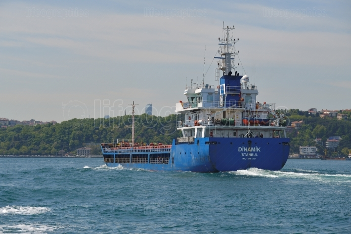 Blue Cargo boat in the Bosphorus channel, Istanbul