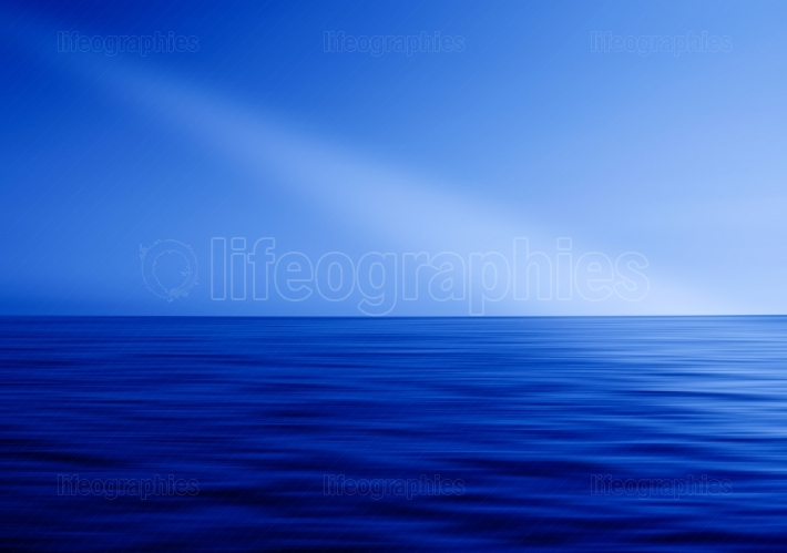 Blue Ocean horizon ray of light abstraction
