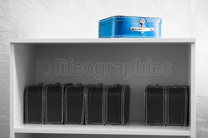 Blue toy case with black and white cases on the shelf background