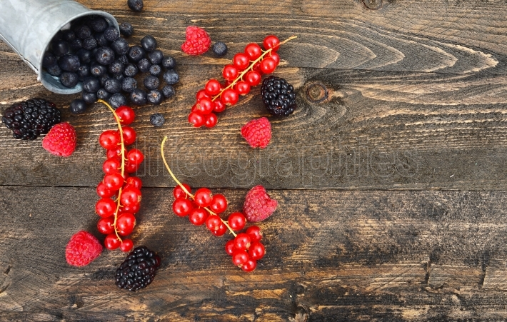 Blueberry, red currant and blackberry mix on wooden background