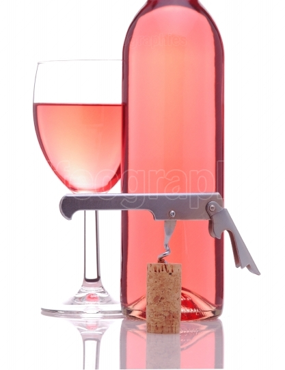 Blush Wine With Glass and Corkscrew