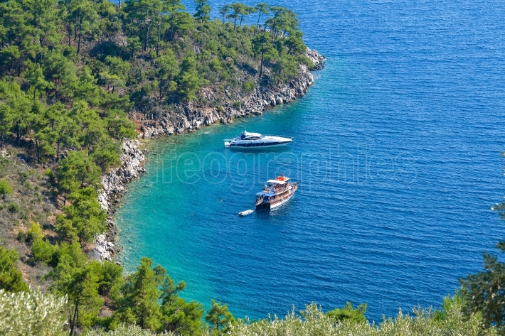 Boats in secluded bay, Thassos Island, Greece
