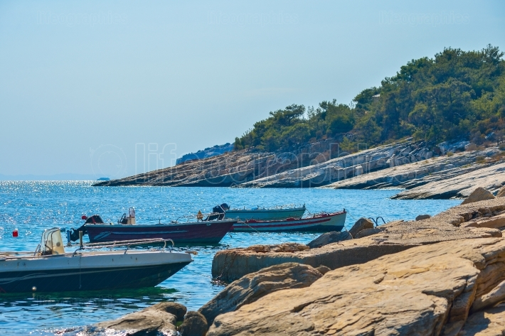 Boats in the bay of the beautiful Aliki beach, Thassos island, Greece