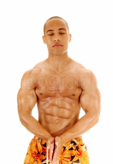 Bodybuilder with closed eyes