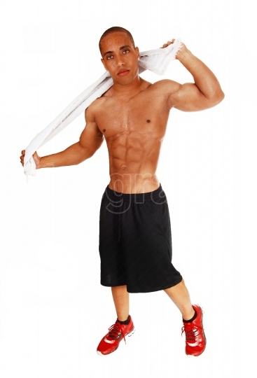 Bodybuilder with towel