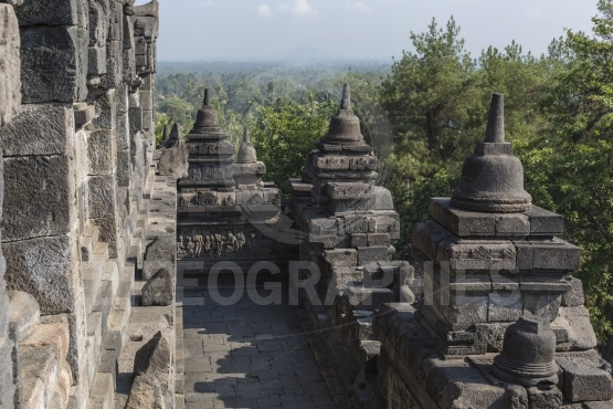 Borobudur temple complex on the island of Java in Indonesia in t