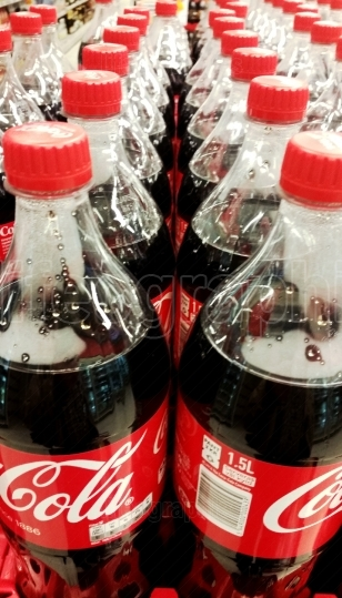Bottles with Coca Cola