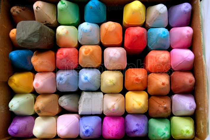 Box of Colorful Chalk For Creating Sidewalk Art