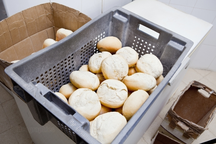 Box of fresh baked bread rolls