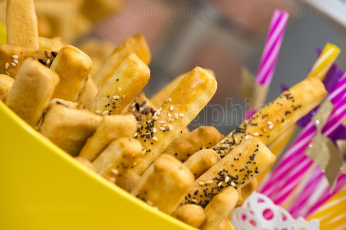 Bread sticks with sesame seeds. Selective focus
