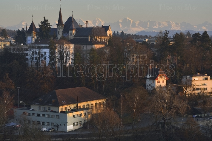 Bridge and castle in Bern at sunset