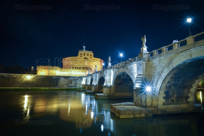 Bridge of angels at Castel Santangelo in Rome Italy