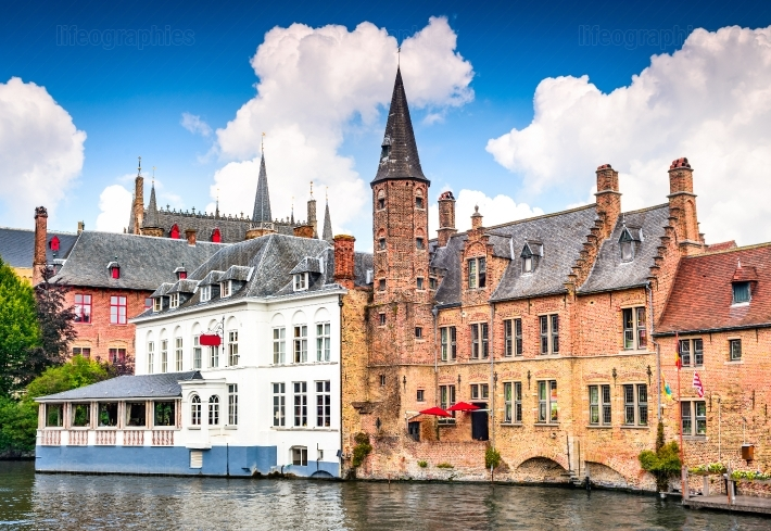 Bruges, Flanders, Belgium - Water canal with flemish houses.