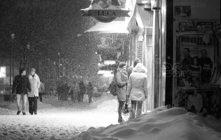 Bucharest, Romania  January  2017: People walking in Bucharest c