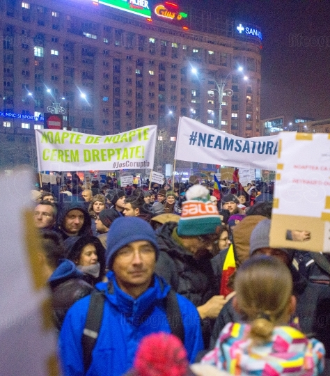 Bucharest, Romania - January  2017: Thousand people marched through the Romanian capital on Wednesday night to protest the government's plan to pardon thousands of prisoners.