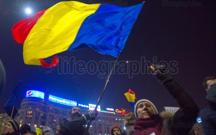 Bucharest, Romania - January 29, 2017: Thousand people marched through the Romanian capital on Wednesday night to protest the government's plan to pardon thousands of prisoners.