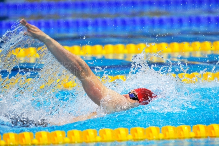 BUCHAREST, ROMANIA - JULY 10:Unknown swimmer competing in Dinamo