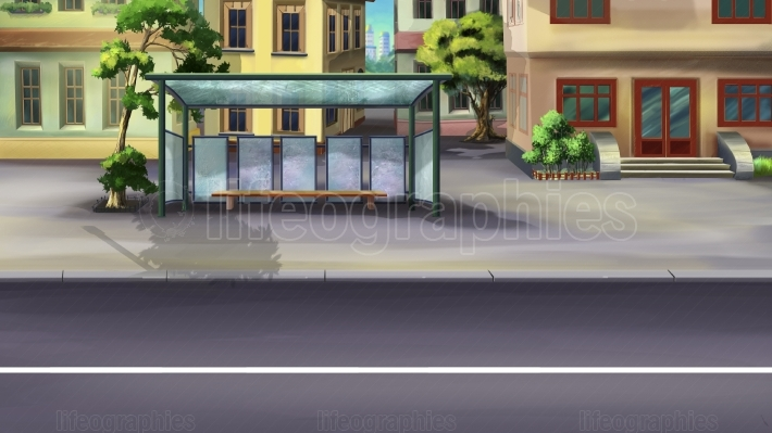 Bus Stop in a City