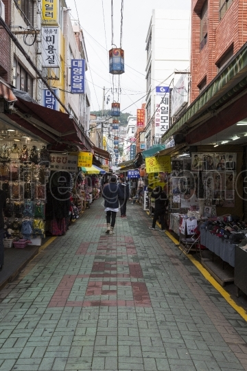 BUSAN - OCTOBER 27, 2016:View of Kukje Market , Nampo-dong Shopp
