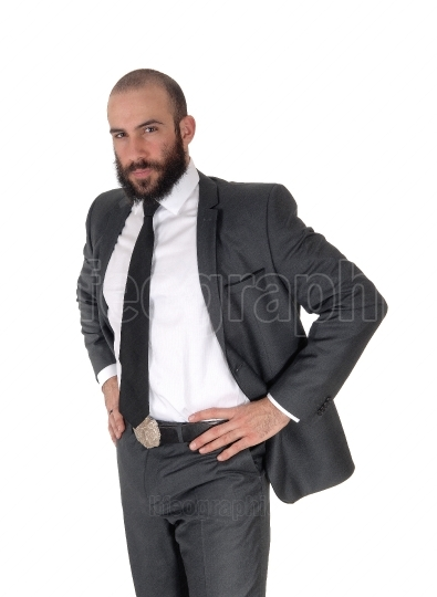 Business man standing with hands on hips