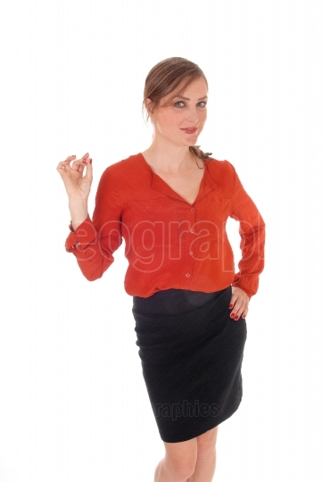Business woman giving OK sign
