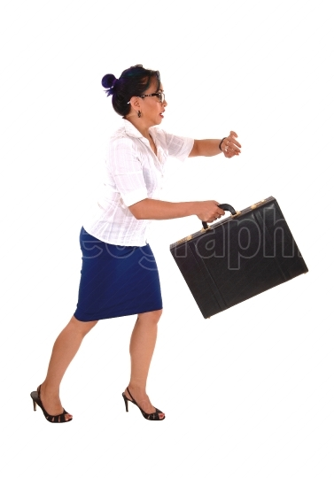 Business woman running late