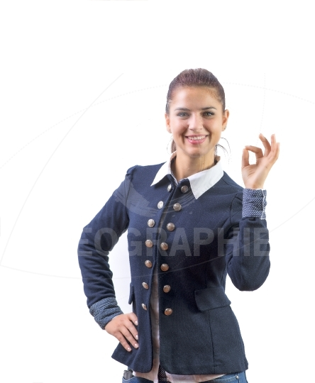 Business woman showing OK hand sign smiling happy