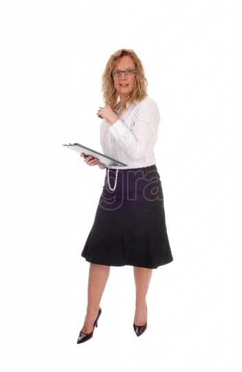 Business woman with clipboard.