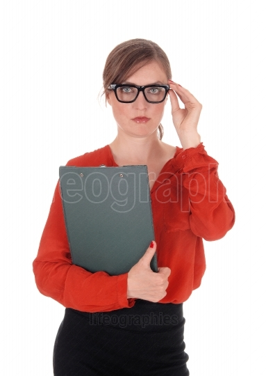 Business woman with glasses holding folder