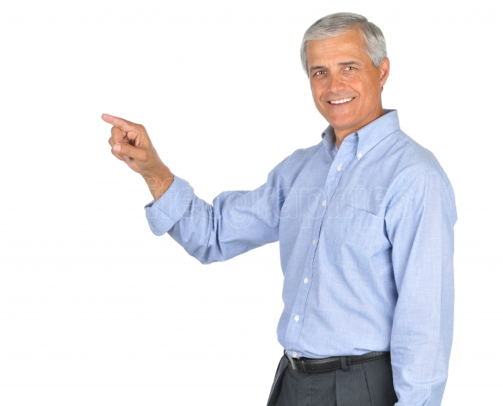 Businessman in Blue Shirt Smiling and Pointing