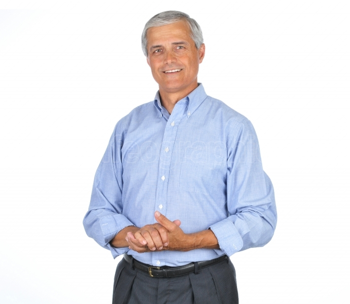 Businessman in Blue Shirt Smiling Hands Clasped
