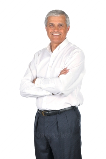 Businessman Wearing White Shirt Arms Crossed