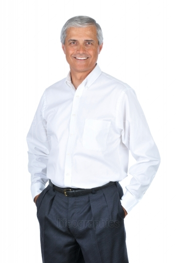 Businessman Wearing White Shirt Hands in Pockets